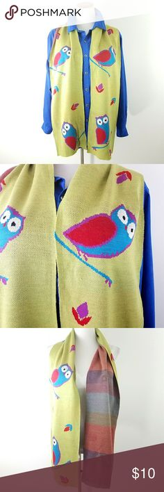 """Owl Lovers  Owl Scarf 9x73"""" Woven scarf Green, teal, purple & red 9""""x 73"""" Tarnish Accessories Scarves & Wraps"""
