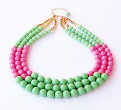 Preppy Colorblock Necklace Triple Strand by whitetulipboutique, $98.00