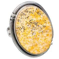 Large Germany Psilomelane Dendrite 925 Sterling Silver Ring Size 9 RING708500