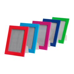 Great colorful frames for displaying kids' artwork in a playroom.