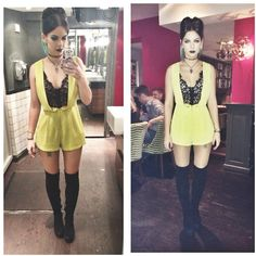 Topshop Thigh High Boots, Topshop Lime Lace Playsuit