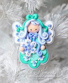 Handcrafted Polymer Clay Angel Ornament por MyJoyfulMoments en Etsy