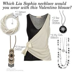 """""""Valentino Blouse - Which Lia Sophia Necklace?"""" by stylelover-611 on Polyvore See the whole Lia Sophia Fall/Winter 2013 Style Guide at www.liasophia.com/HomeParty Get in on the jewelry giveaways at: www.Facebook.com/JJHomeParty"""