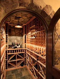 Cool for a small space mediterranean wine cellar by Advanced Renovations, Inc. : Cool for a small space mediterranean wine cellar by Advanced Renovations, Inc. Caves, Wine Cellar Basement, Home Wine Cellars, Wine Cellar Design, Wine Design, Wine House, Root Cellar, In Vino Veritas, Italian Wine