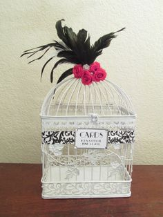 Wedding Card Box / Rhinestone Brooch / White por SouthburyTreasures, $60.00