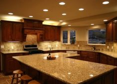 Kitchen Granite Countertops - Steel Grey with Brown accents