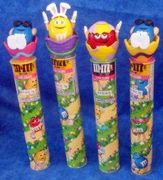 M & M Candy Easter EGGS on Tubes RED, YELLOW pop up - Blue stationery E1 #Valentinetoppers
