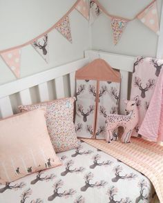 Pink Deer Nursery set by @danoah_baby featuring fawn fabric by Hawthorne Threads