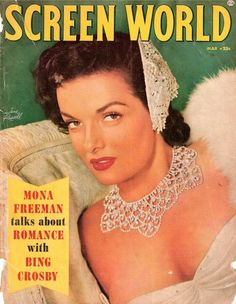 """Jane Russell on the cover of """"Screen World"""" magazine, USA, March 1954."""