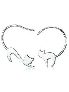 Sterling Silver Tiny Kitten Hook Earrings - SILVER