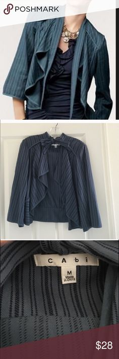 Cabi Must Have Jacket EUC--blue with darker blue stripe. 3/4 sleeves, waterfall collar. CAbi Jackets & Coats