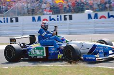 Berger gets a lift back from team mate Alesi