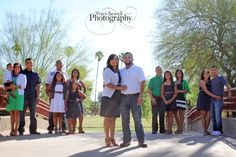 Large family pose; grouping the families together; great color scheme!