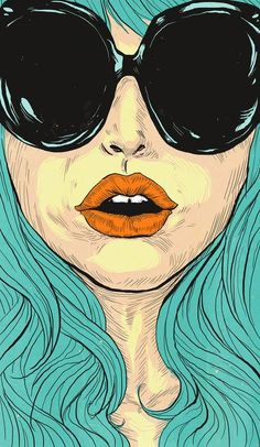 Red lips, blue hair and Waterbug sunglasses.  #Pop art.