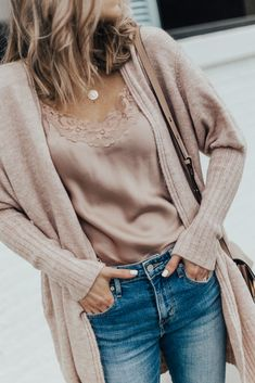 Fall Outfit: Cozy Cardigan and Distressed Denim Fall Outfit: Cozy Cardigan and Distressed Denim,fashion & accessories Fall Outfit: Cozy Cardi, Sweet & Spark Pink Silk Lace Cami and Distressed Denim Denim Fashion, Look Fashion, Winter Fashion, Fashion Outfits, Womens Fashion, Mode Outfits, Fall Outfits, Casual Outfits, Denim Outfits