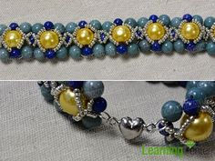 add seed beads and platinum heart magnetic clasp