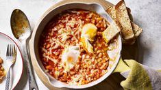 A tin of baked beans makes this spicy twist on shakshuka the perfect weekend cure-all. Cheaper than going out for brunch and you can stay in your jammies. Bbc Good Food Recipes, Egg Recipes, Cooking Recipes, Healthy Recipes, Healthy Breakfasts, Cooking Ideas, Healthy Food, Food Ideas, Healthy Baked Beans