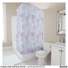 Purple, Pink and Gray Floral Pattern Shower Curtain