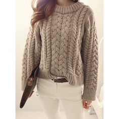 $18.43 Casual Round Neck Long Sleeves Solid Color Cable-Knit Sweater For Women