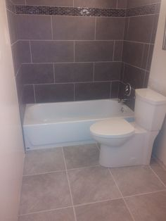12x24 Grey Porcelain On Subway Lay With 4inch Gl Liner And 18x18 Bath Floor