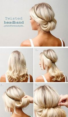 Twisted Headband Updo | 10 Beautiful & Effortless Updo Hairstyle Tutorials for Medium Hair | Gorgeous DIY Hairstyles by Makeup Tutorials at http://makeuptutorials.com/10-beautiful-effortless-updo-hairstyle-tutorials-medium-hair/