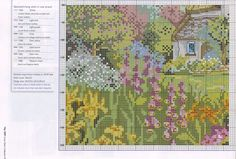 Dom w kwiatach Cross Stitch Landscape, Cross Stitching, Cross Stitch Patterns, Needlework, Scenery, Map, Embroidery, Painting, Free