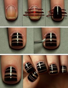 Tired of painting your nails in just one color? Try out something new with striping tape. Or use simple scotch tape, cut to strips with scissors, if you don't have striping tape handy :)