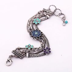 Simple Alloy Bracelet With Colorful Elements