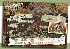Gravity Falls Birthday Party Invitation, personalized printable invite, Digital printable.