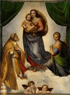 Die Sixtinische Madonna, Raffael  (1512/1513), Gemäldegalerie Alte Meister Dresden    Raffaels Kultbild wird 500 - Ausstellung der Gemäldegalerie Alte Meister, Semperbau am Zwinger  (26.05 - 26.08.2012)