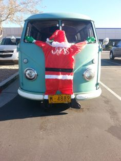 Santa on a VW Bus Panel