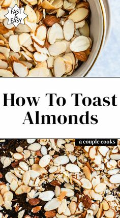 Here's how to toast almonds two ways: it makes them crunchier and enhances their nutty flavor! Try toasted almonds on salads oatmeal and desserts. Almonds Nutrition, Vegan Recipes Plant Based, Kale Recipes, Greek Yogurt Pancakes, Toasted Almonds, Pecans, Couple Cooking, Vegetarian Cookbook, Green Bean Recipes