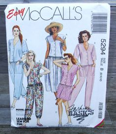 1991 Uncut  Easy  McCall's Pattern 5294 by lovelylovepatterns, $4.25