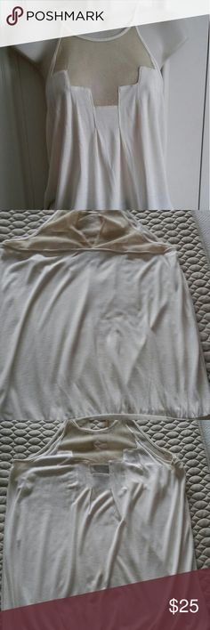 Anthropology Deletta Shimmery Mesh Yolk Top This darling spaghetti strap top with gold shimmery mesh your is so figure flattering. The back buttons at the neck and has a slit opening in the back yoke. It has a band at the bottom hiding the tummy and waist. Pairs well with a skirt or skinny jeans. 100% modal. Anthropologie Tops