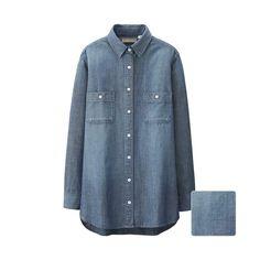 Uniqlo Chambray Long Sleeve Long Shirt