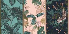 """Collection de papiers peints de Monoprix, 19,99 euros le lé, dimensions : 0,53 x 10,05 cm, fabriqué en France. De gauche à droite : """"Feuillage"""", """"Safari"""" et """"Sherkan"""". Southern Belle, Decoration, Sweet Home, Pattern, Diy, Gauche, Dimensions, Safari, France"""