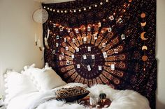 Bedroom Vibes ✨ Zella Vita Tapestry by Lady Scorpio | Design by @kaitlynjohnsondesign ☽ ✩ Product by Lady Scorpio | Bohemian Bedroom String Lights Polaroids Boho Bungalow || Save 25% off all orders with code PINTERESTXO at checkout | Shop Now LadyScorpio101.com
