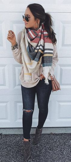 fall outfit idea scarf   sweater   bag   rips   boots