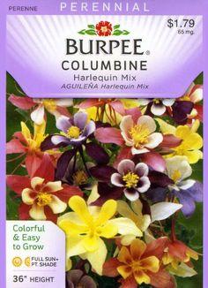 Burpee Flower Columbine Harlequin Mix 38258D (Multi Colors) 25 Seeds David's Garden Seeds http://www.amazon.com/dp/B007HASS2S/ref=cm_sw_r_pi_dp_2ZLPtb1YAAG80K4N