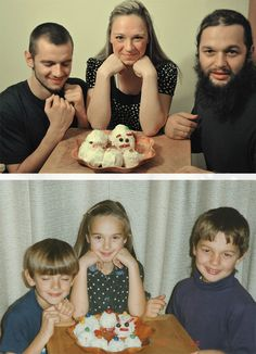 Kinder stellen Kindheitsfotos nach, Geschenk für Eltern