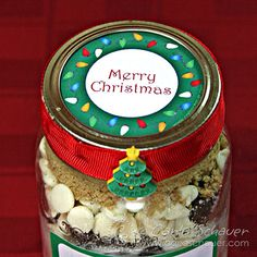 Christmas Lights free printable canning jar topper from Carla Schauer Designs.