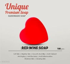 Body Petals Unique Bath Soap Type: Bath Soap Description: It Has 1 Piece Of Wine Soap Ingredients  Red wine,Olive oil,Coconut oil,Castro oil,Vit e,Glycerin ,Sucrose ,Aqua, Lye 1. Soft Skin 2.Brighter Skin 3.Smooth And Silky 4.Anti Oxidant 5.Anti Aging 6.Anti Bacteria 7.Anti Inflammation 8.Moisture Skin 9.Glowing Skin Sizes Available: Free Size   Catalog Rating: ★4.1 (36850)  Catalog Name: Free Mask Authentic Handmade Soaps Vol 6 CatalogID_71493 C52-SC1272 Code: 921-635853-