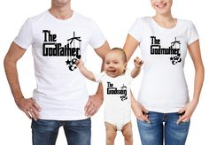 The Godfather, Godmother and godson white t-shirts and baby bodysuit vest set by MumKnowsBabyGrows on Etsy