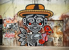 mexican street art. lines. color. graffiti. | Amazing street art by Miguel Mejía also known as Neuzz. Inspired by Mexican culture, animal masks and folklore; his work takes it all and wraps it in a brand new stylistic package. Check out his Flickr page for more outstanding work! http://www.flickr.com/photos/neuzz/ https://www.facebook.com/neuzz