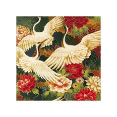 Cranes and Flowers Asian Fabric