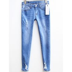 SheIn(sheinside) Blue Slim Ripped Denim Pencil Pant ($20) ❤ liked on Polyvore featuring jeans, blue, destroyed jeans, blue denim jeans, ripped skinny jeans, distressed jeans and stretch denim jeans