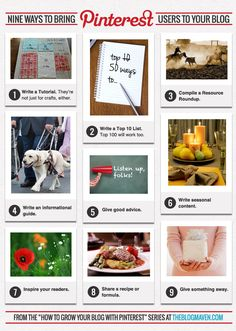 9 ways to bring Pinterest users to your blog: tips for bloggers | theblogmaven.com  (5/10/2013)