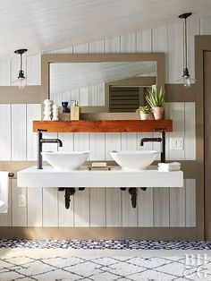 Adding sophistication and style to your bath can begin with the clean, simple elegance of these beautiful sink bowls, which rest on -- or are slightly set into -- the vanity top.