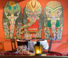 Indian Restaurant  cute elephants decorative wall decor