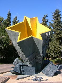 "Warsaw Ghetto Monument in Haifa - ""For those who fell in an unprecedented heroic struggle for the dignity and freedom of the Jewish nation, for a free Poland, for the liberation of man - Polish Jews"""